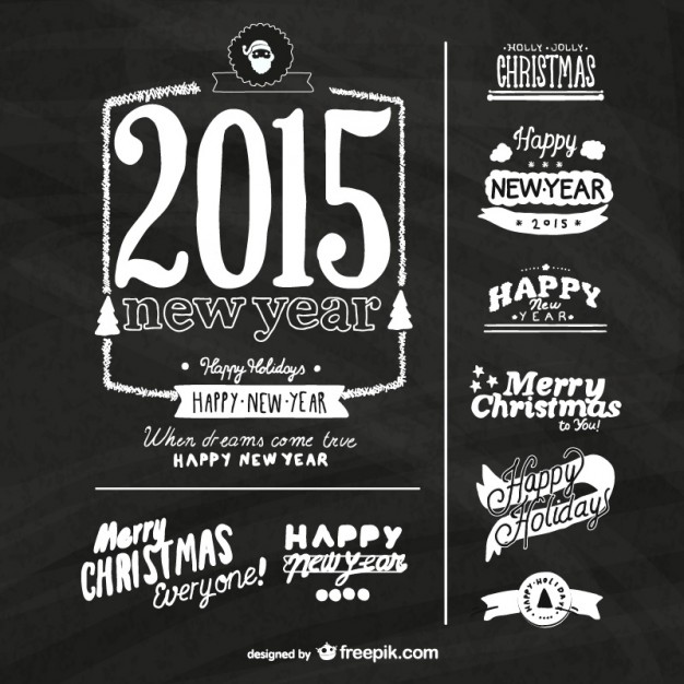 Grunge New Year labels with blackboard texture  Vector |   Download