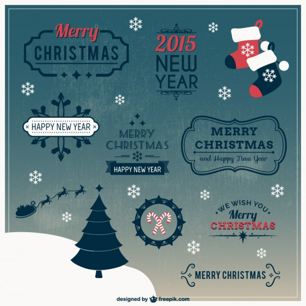 Retro style Christmas labels  Vector     Download