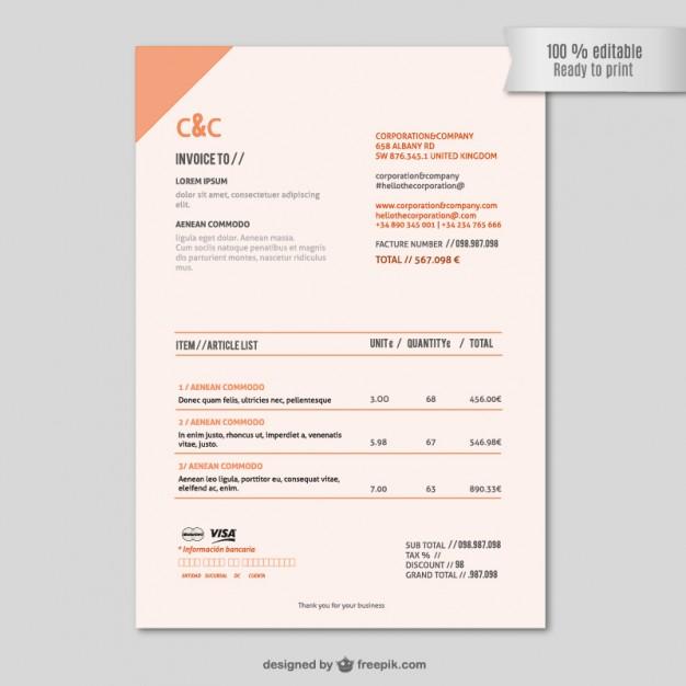 Invoice template editable vector   Vector |   Download