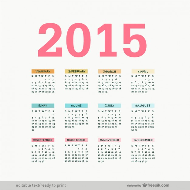 Editable 2015 calendar vector  Vector |   Download