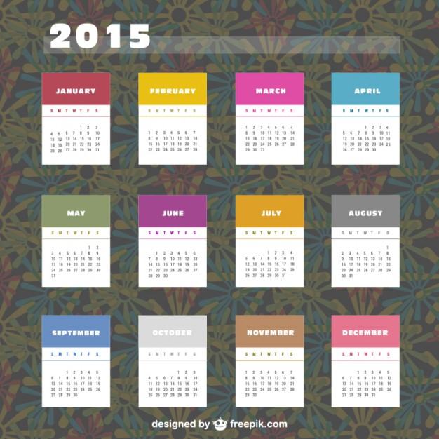 2015 Calendar with colorful labels  Vector |   Download