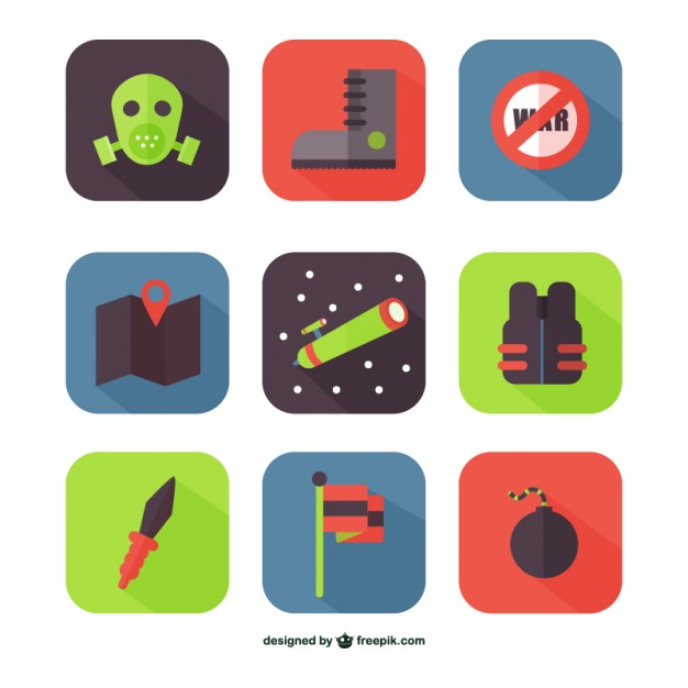 Colorful war icons  Vector |   Download