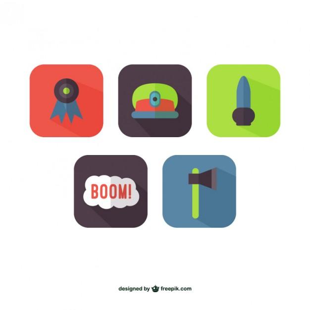 Colorful warfare icons  Vector |   Download