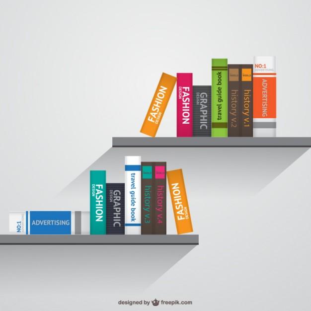 Bookshelves realistic vector  Vector     Download