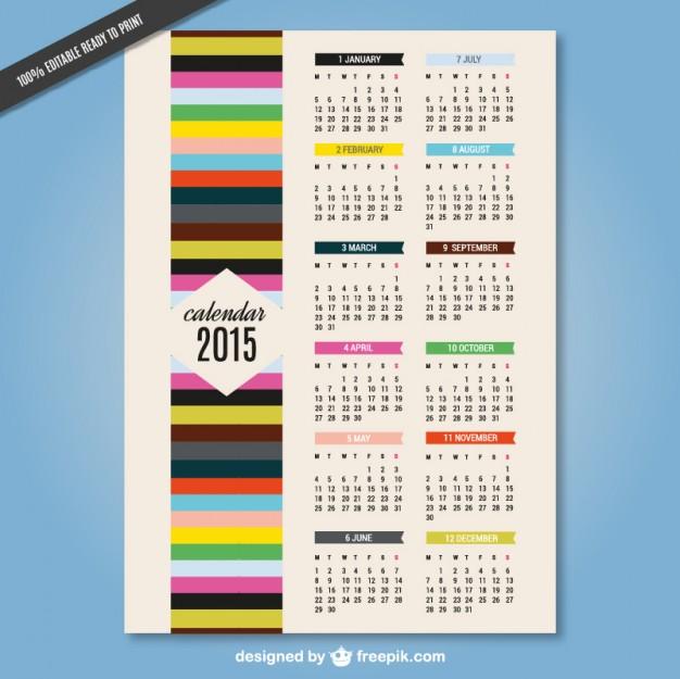 2015 colorful calendar vector art  Vector |   Download