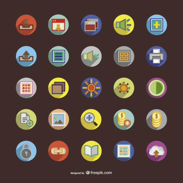 Colorful round icons set  Vector |   Download