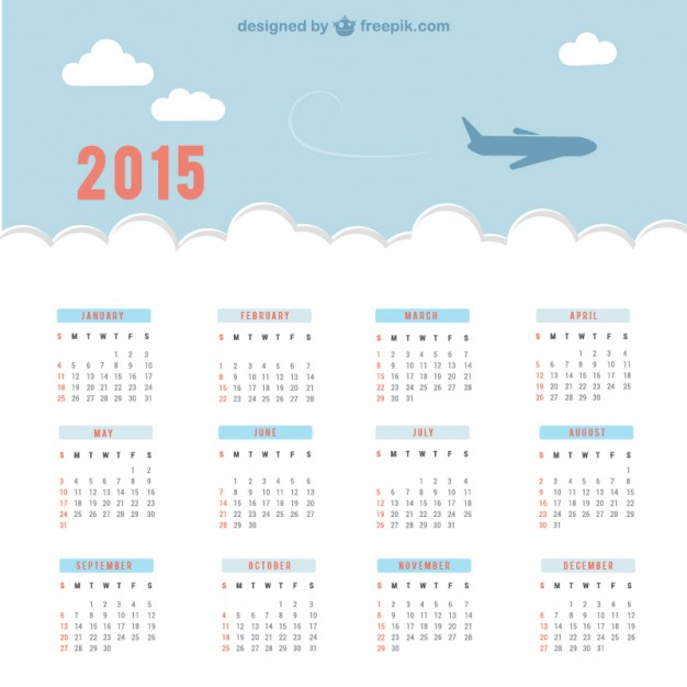 2015 Calendar with sky and plane  Vector |   Download