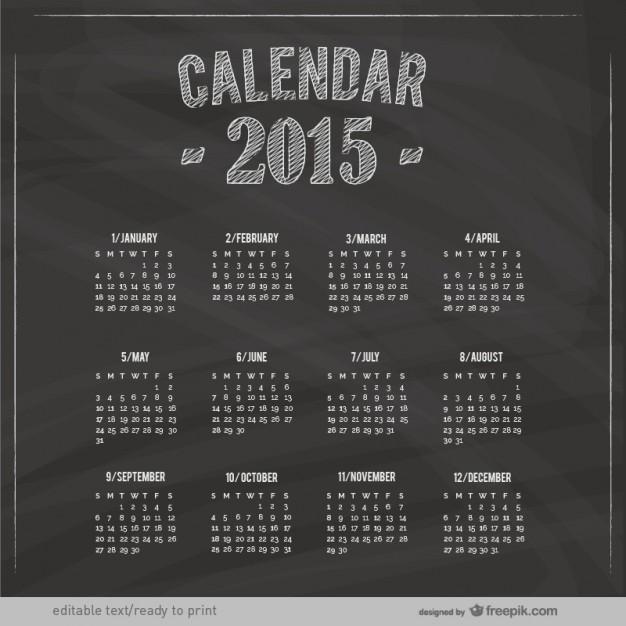 2015 Calendar with blackboard texture  Vector |   Download