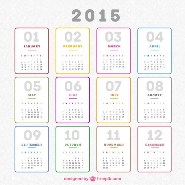 Plain 2015 calendar  Vector |   Download