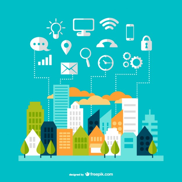 Modern communication cityscape design  Vector |   Download
