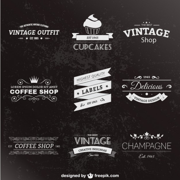 Retro style labels pack  Vector     Download