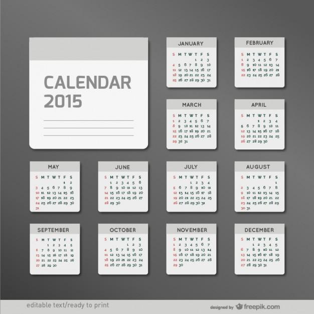 Minimalist 2015 calendar  Vector |   Download