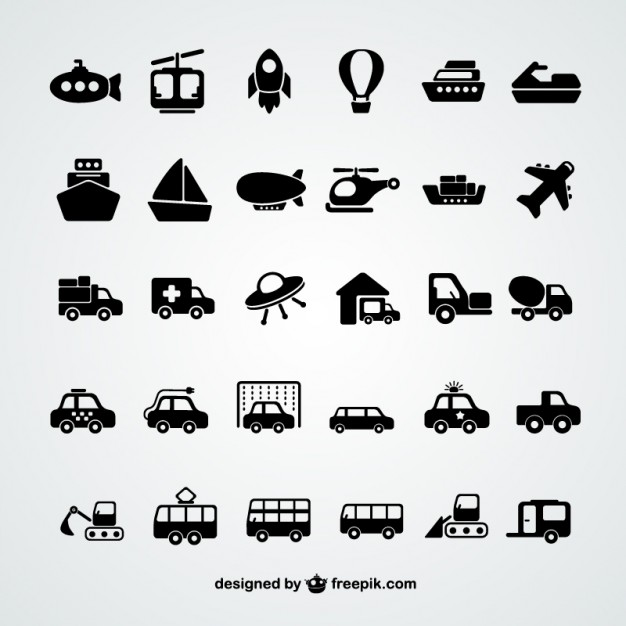 Transport icons collection  Vector |   Download
