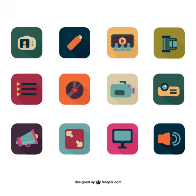 Colorful photo and video flat icons  Vector |   Download