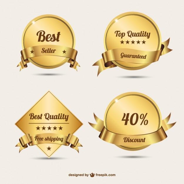 Golden badges  design   Vector |   Download