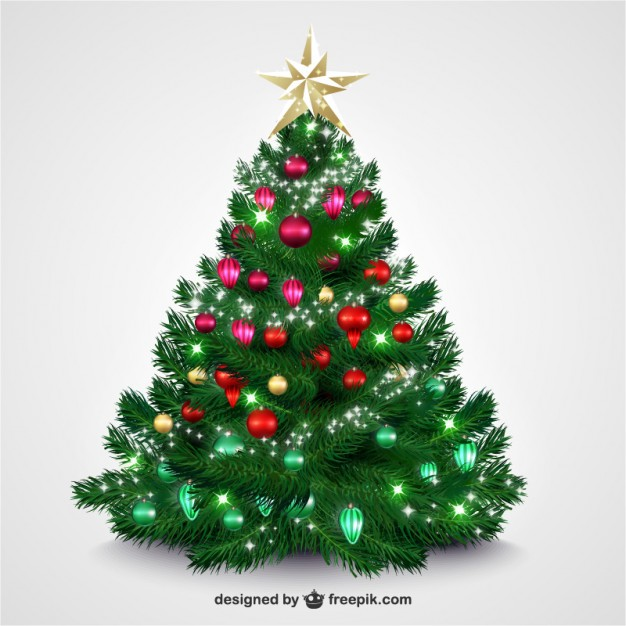 Christmas tree with bright baubles  Vector     Download