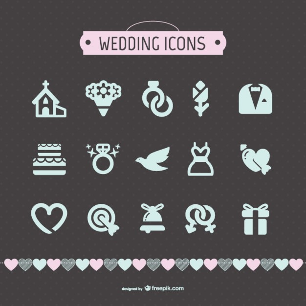 Wedding icons collection  Vector |   Download