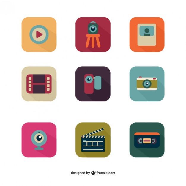Colorful multimedia icon pack  Vector |   Download