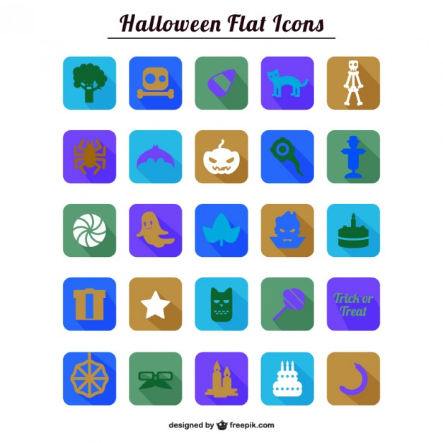Colorful Halloween flat icons collection  Vector |   Download