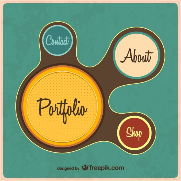 Retro web portfolio template  Vector |   Download
