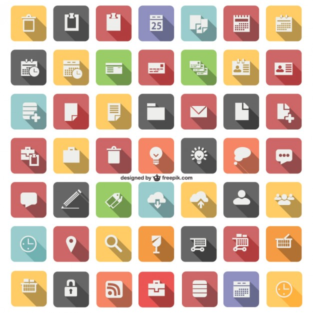 Flat icon set vector  Vector |   Download