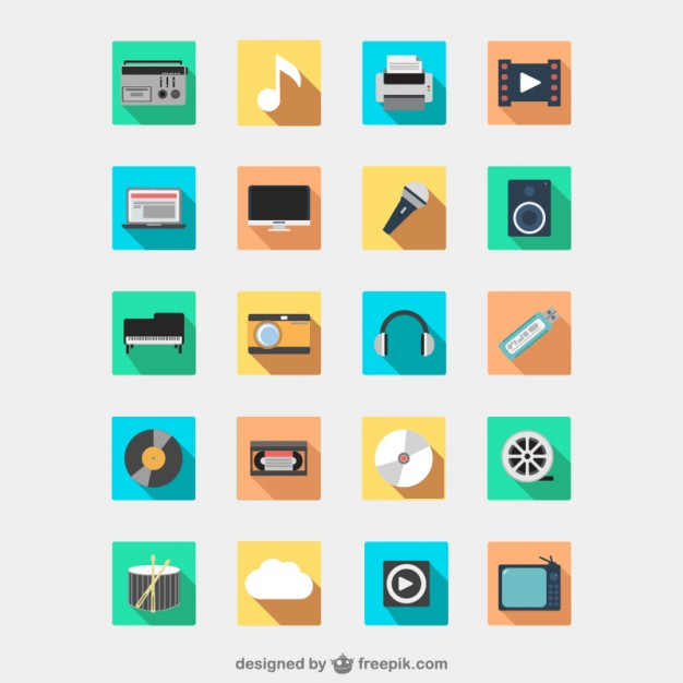 Multimedia devices icon pack  Vector |   Download