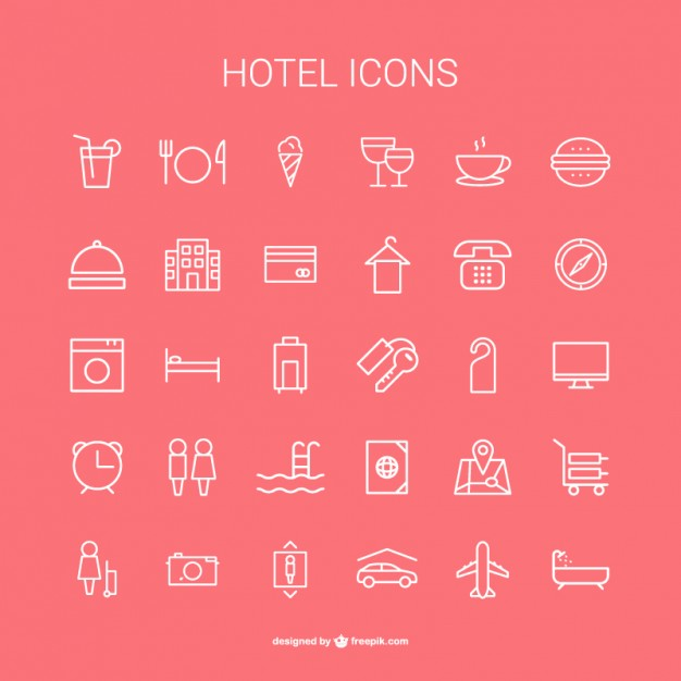 Hotel icons collection  Vector |   Download