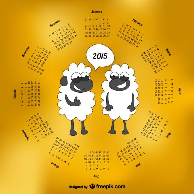 2015 Calendar with sheep cartoon  Vector |   Download