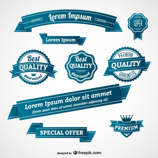 Blue retro badges and banners  Vector |   Download