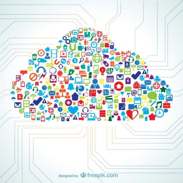 Cloud shape filled with icon vectors  Vector |   Download