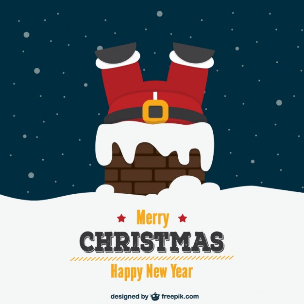 Christmas card with Santa and chimney  Vector     Download