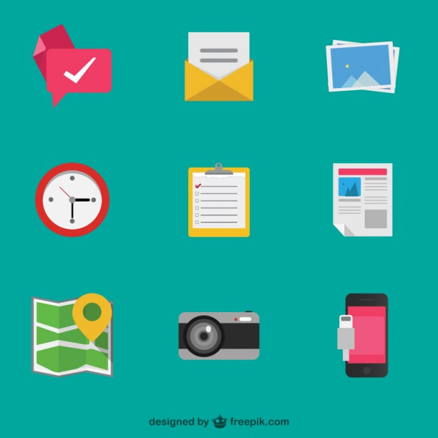 Colorful detailed objects icons  Vector |   Download