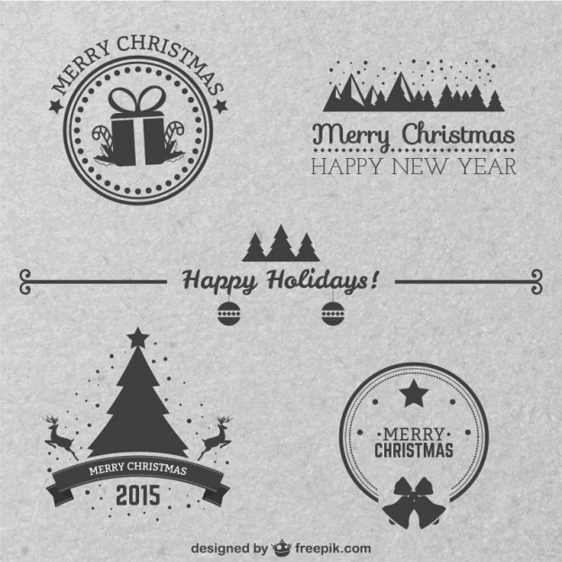 Classic style Christmas badges  Vector     Download