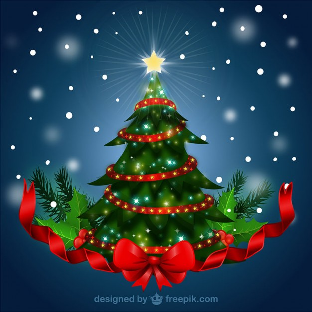 Christmas tree with red ribbon  Vector |   Download