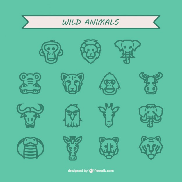 Wild animals icon pack  Vector |   Download