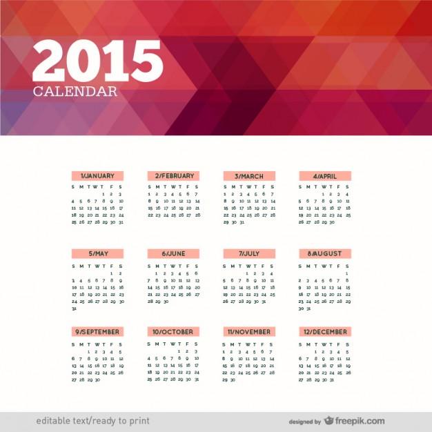 Polygonal 2015 calendar  Vector |   Download