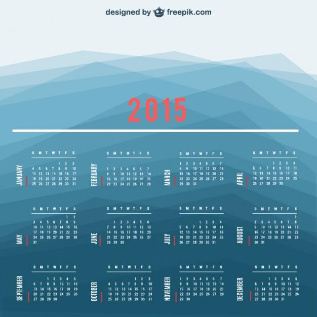 2015 Calendar vector with polygonal background  Vector |   Download