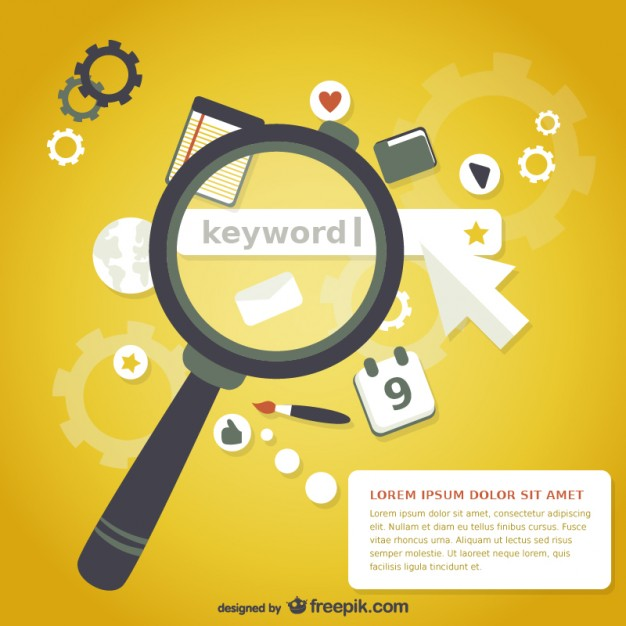 Magnifying glass keyword search  Vector |   Download