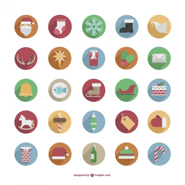 Colorful Christmas icons pack  Vector |   Download