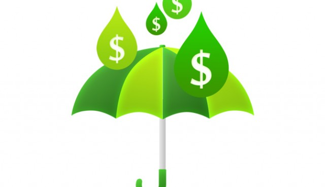 Money rain and umbrella (PSD)
