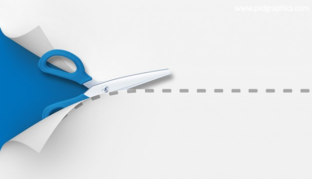 Scissors cutting template (PSD)