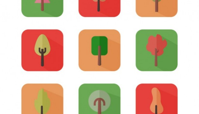 Autumn trees icons  Vector |   Download