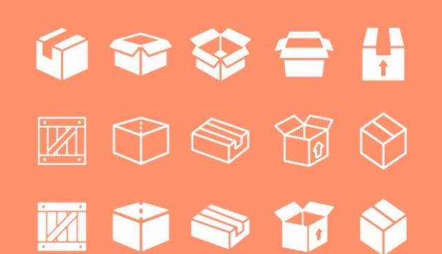 Box flat icons collection  Vector |   Download