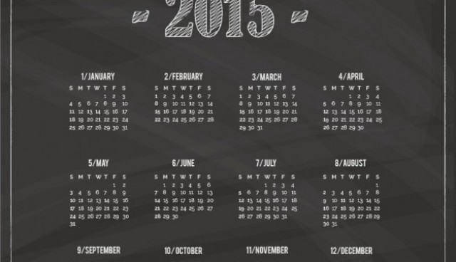 2015 Calendar with blackboard texture  Vector |   Download