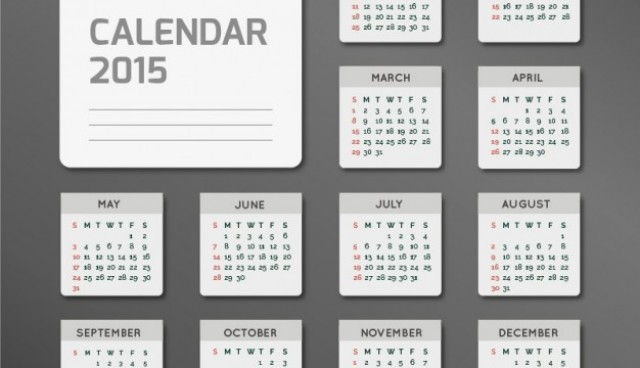 Minimalist 2015 calendar  Vector |   Download