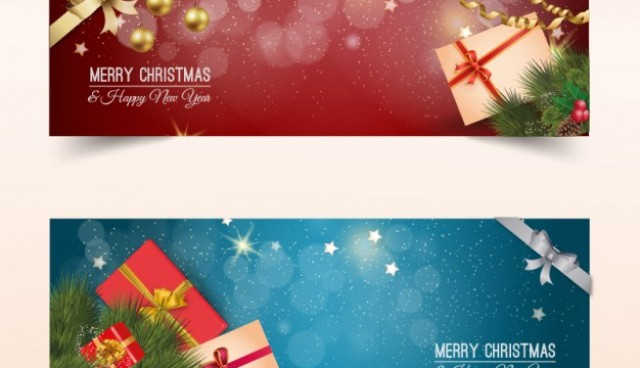Christmas banners with presents  Vector |   Download