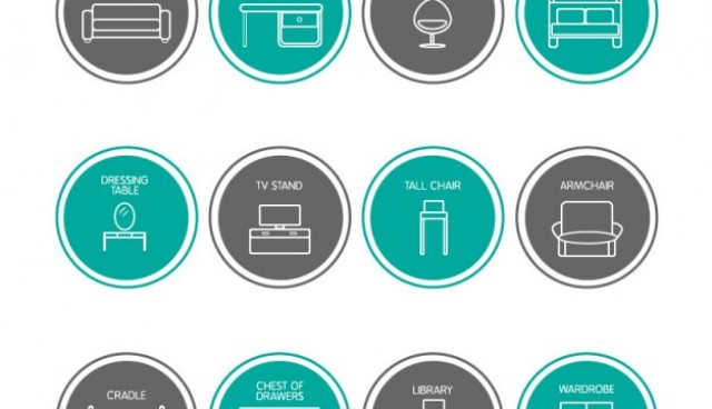Furniture icons set  Vector |   Download