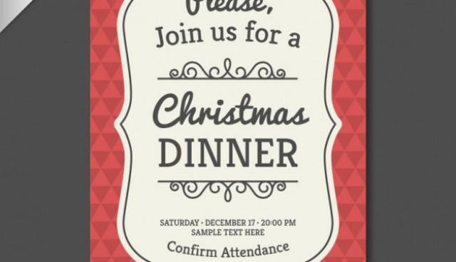 Vintage Christmas invitation template  Vector |   Download