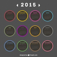2015 Calendar with round labels  Vector |   Download