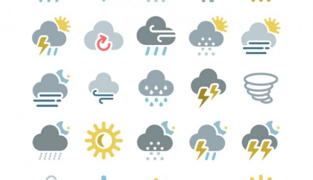 Colorful weather icons pack  Vector |   Download